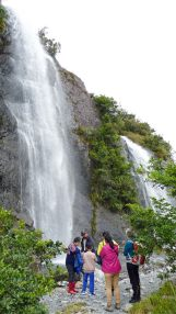 Waterfalls into the Franz Josef Glacier valley